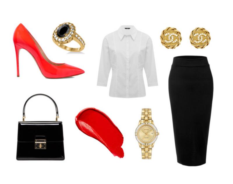 женские образы с красными туфлми