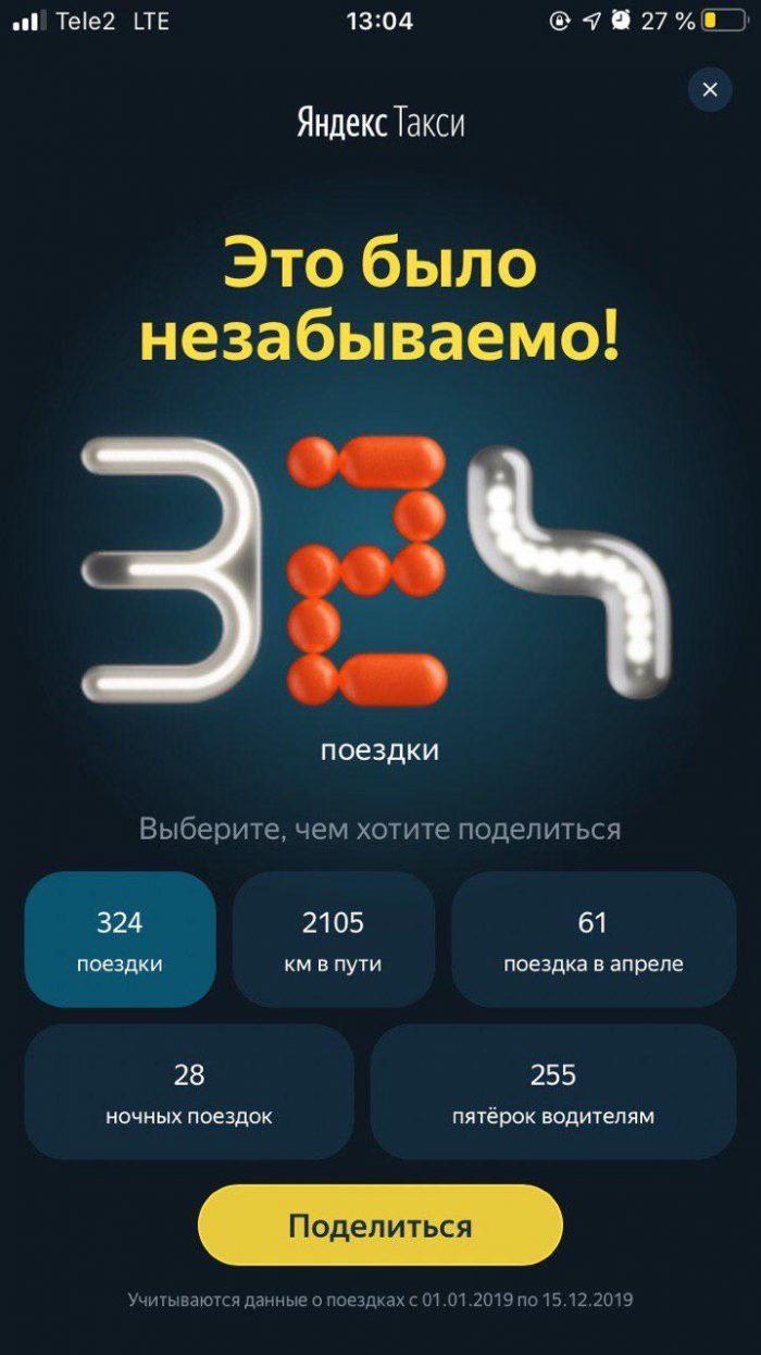 Как посмотреть количество поездок Яндекс.Такси за год