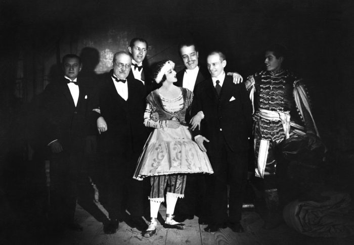 (GERMANY OUT) Lifar, Serge *15.04.1904-15.12.1986+ Dancer, choreographer, Russia/France dancers at the opera in Paris; from the left: Kremnev, Benois, Grigoriev, Karsavina, Serge Diaghilev, Nijinsky, S.L. (Photo by ullstein bild/ullstein bild via Getty Images)