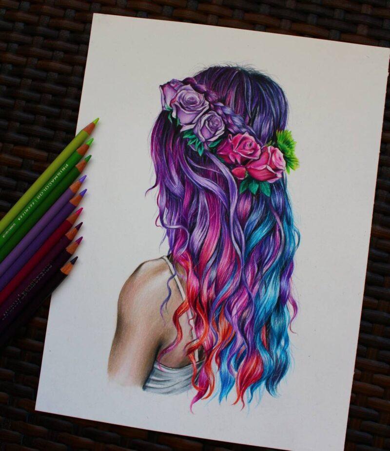 разноцветные волосы нарисованная картинка