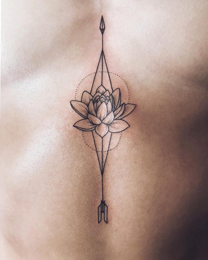 женские тату под грудью цветы